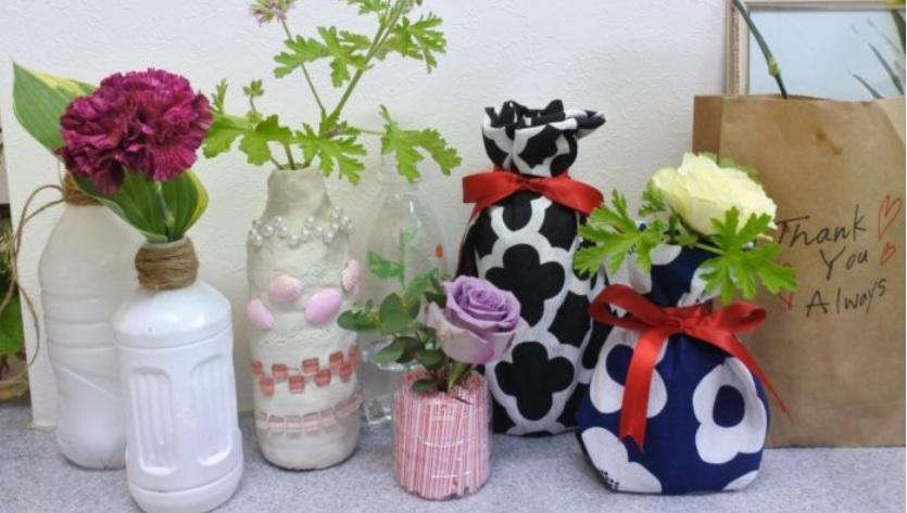お花を活ける花瓶の代用品 ペットボトル