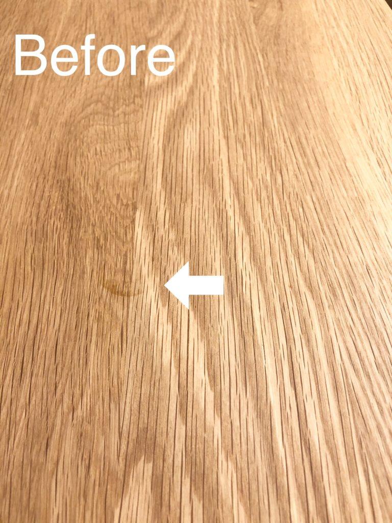 無垢のテーブルの輪染み/シミ/汚れの落とし方