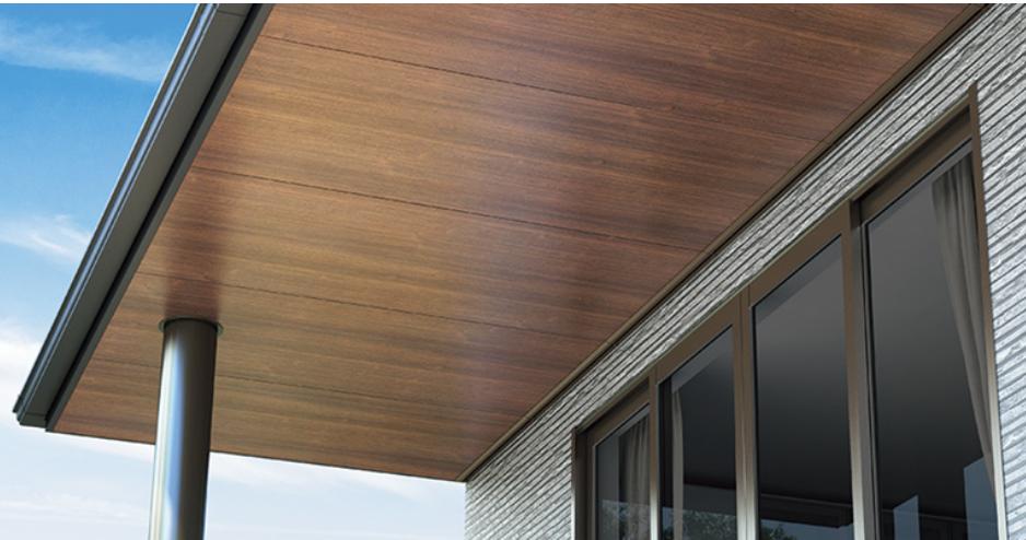 軒天に木目調の専用軒天材を使用する場合 ケイカル材