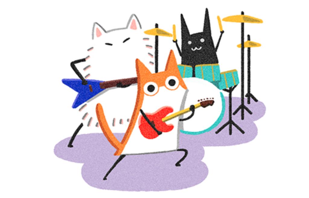 楽器を演奏しているねこたち