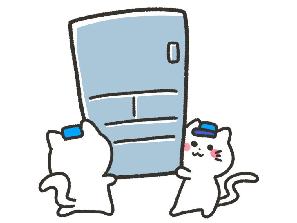 猫2匹が冷蔵庫を運んでいる