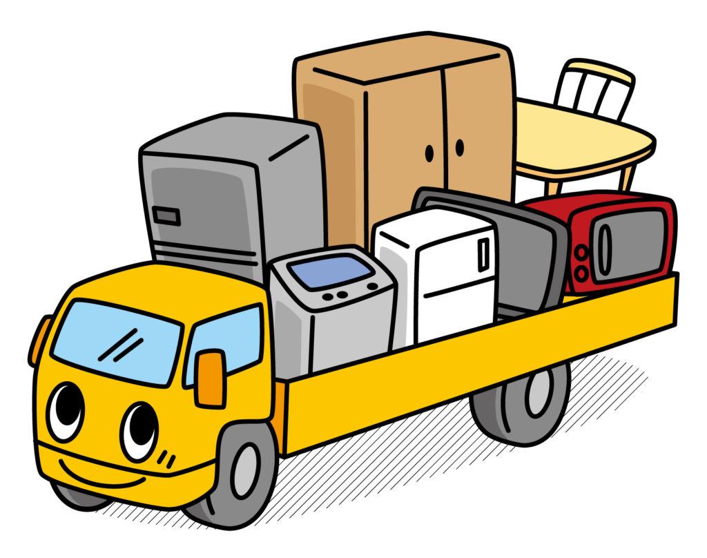 冷蔵庫をトラックで運んでいる
